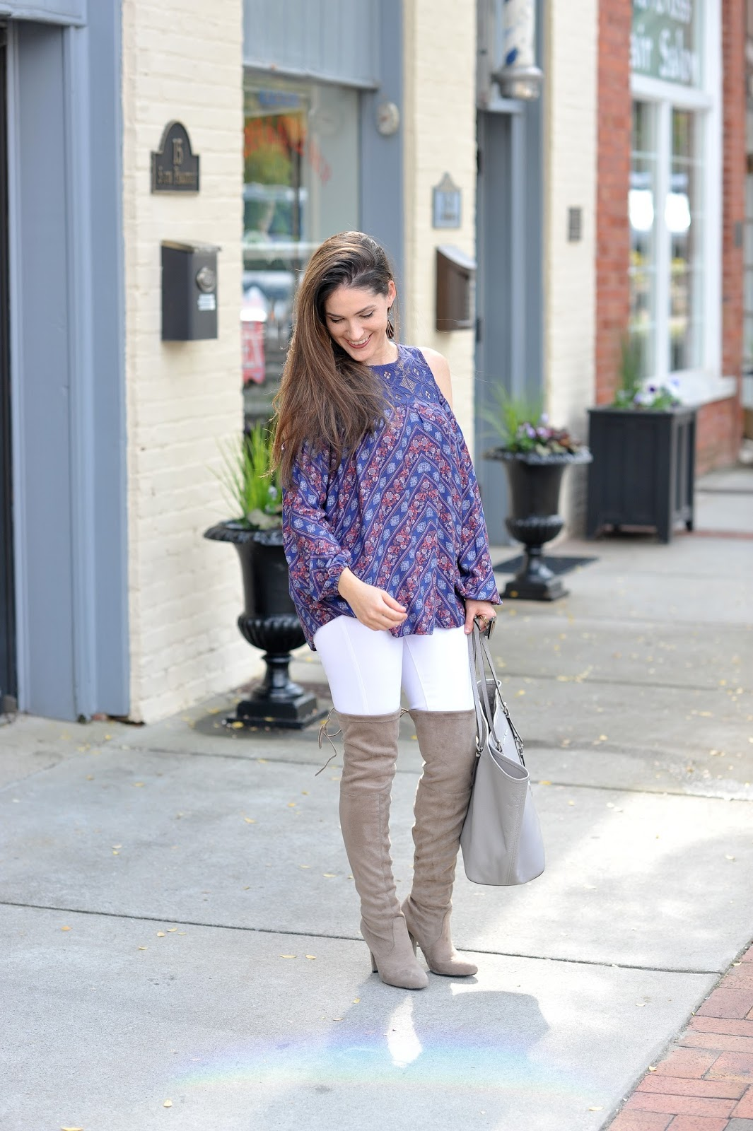 Cold Shoulder Top & Micheal Kors Tote - Erica Valentin Style Blogger