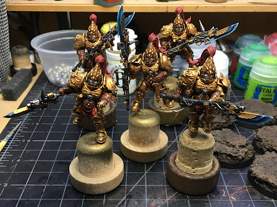 Custodian Guard with Halberds WIP with power weapon effects