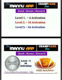 THE MANNU APP RANK /BONUS/ REWARD