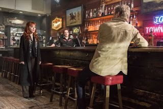 "Ruth Connell as Rowena, Richard Speight Jr. as Gabriel and Mark Pellegrino as Lucifer in Supernatural 13x21 ""Beat the Devil"""