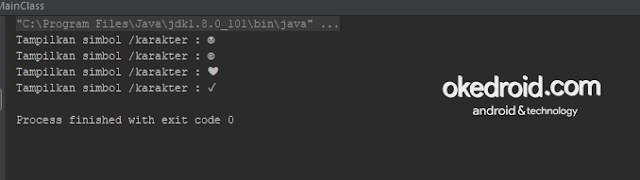 Output Hasil Karakter Spesial Khusus Unicode di Bahasa Program Java