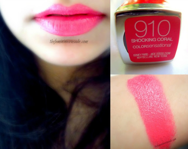 Maybelline Color Sensational Vivid Lipstick in Shocking Coral - swatches