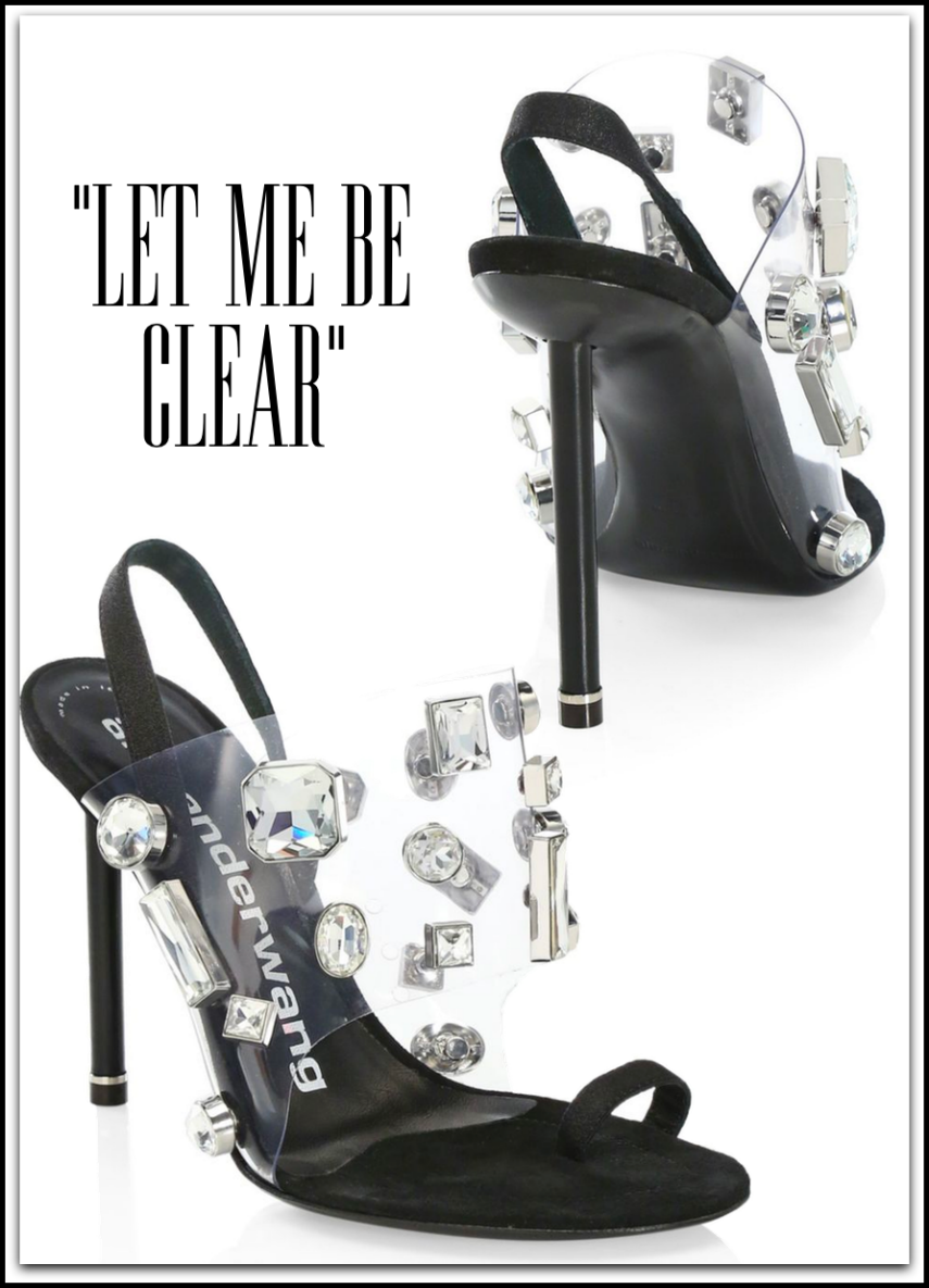 Alexander Wang Kaia Bejeweled Clear-Strap Suede High-Heel Sandals