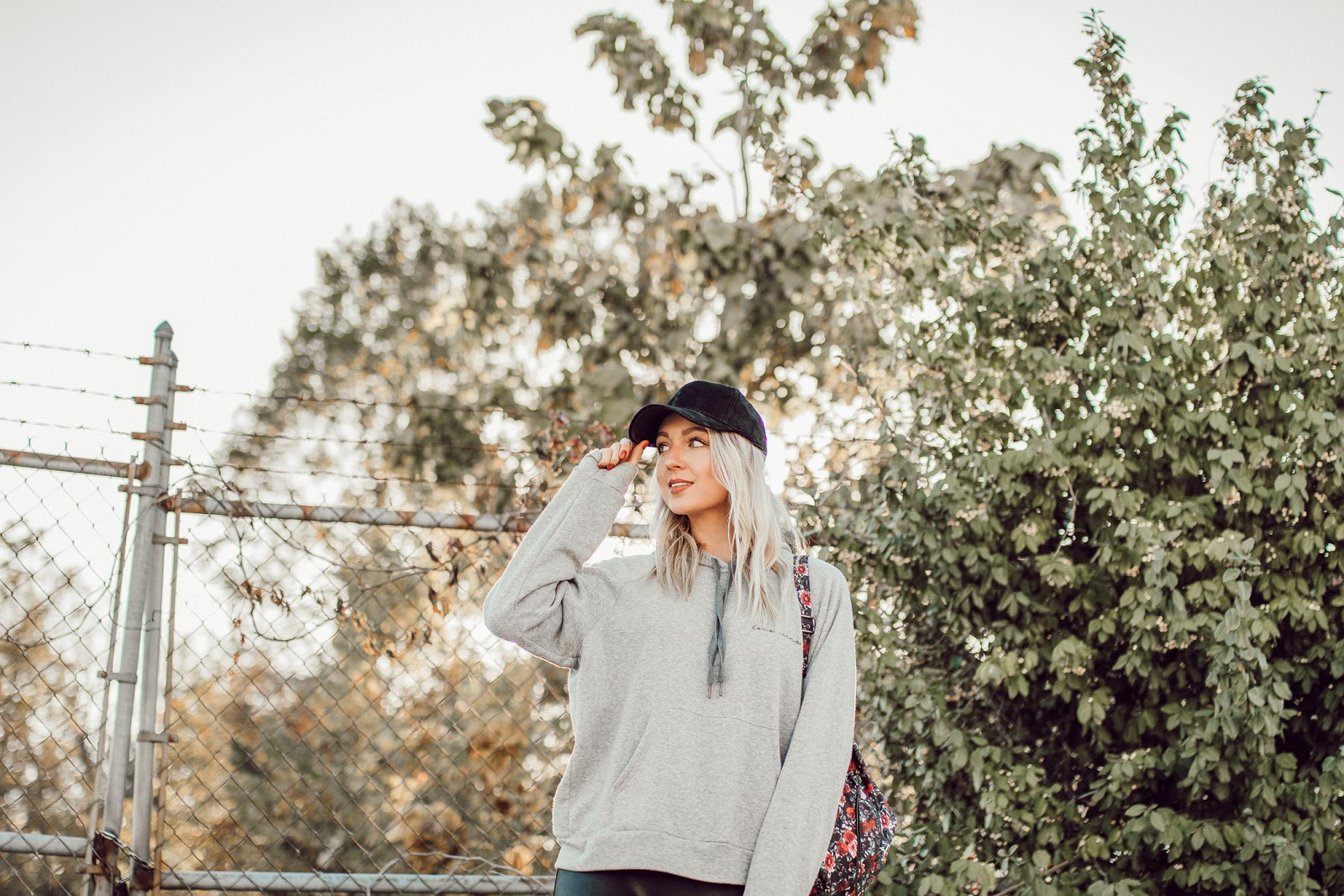 hoodie + baseball cap