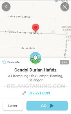 Waze Lokasi Cendol Durian Hafidz