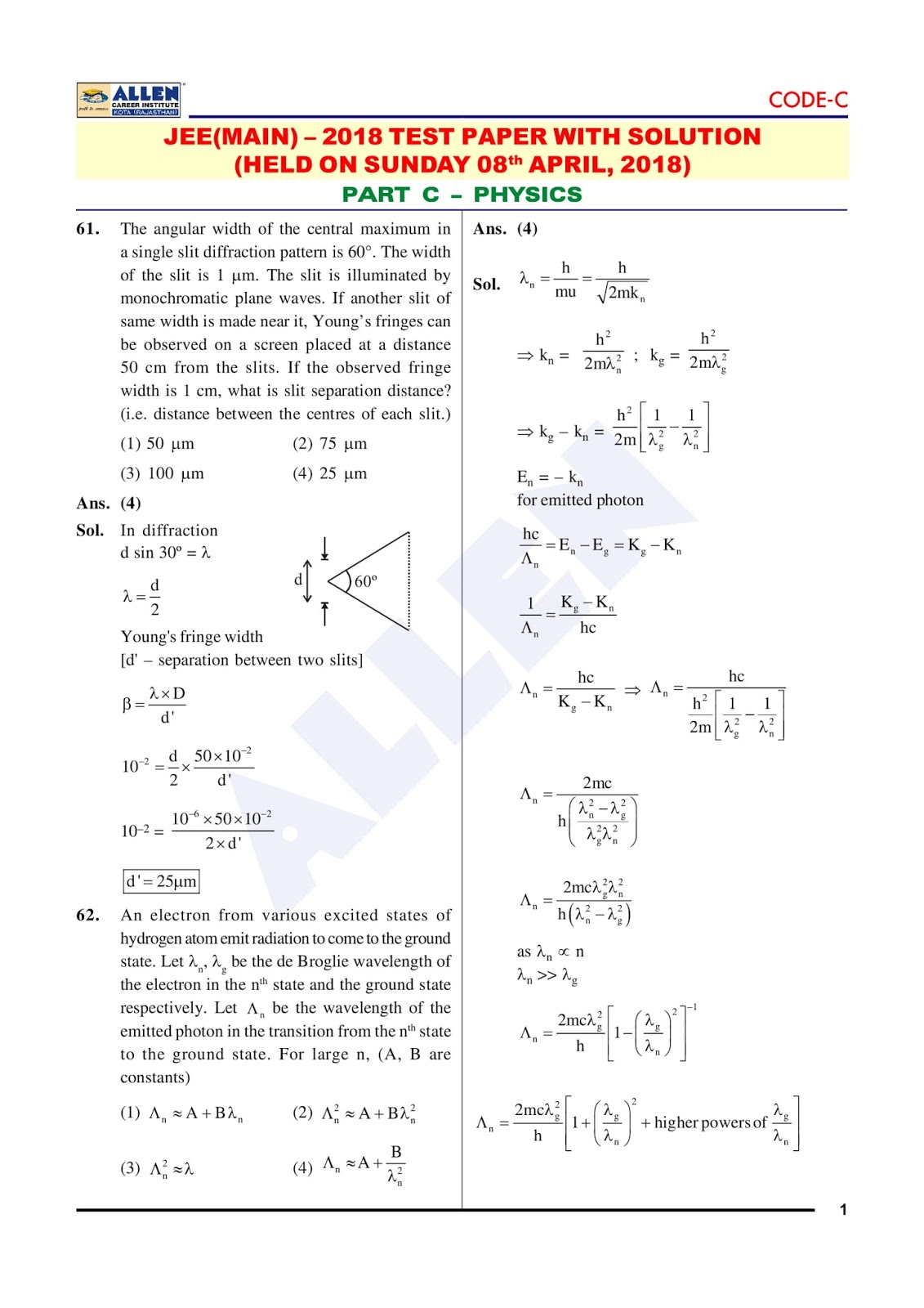 JEE Main 2018 Detailed Exam Analysis   08 04 2018   Download