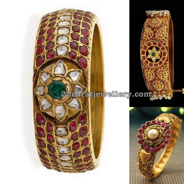 Cabochon Rubies Broad Antique Bangles
