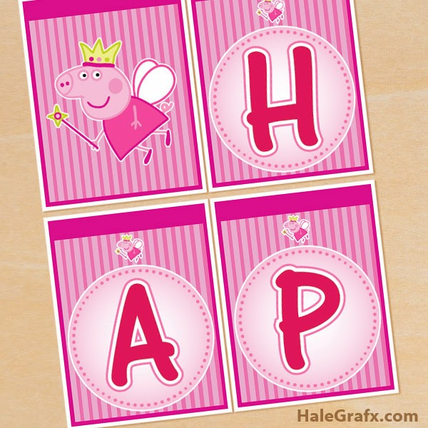 Peppa Pig Fairy: Free Printable Happy Birthday Banners.