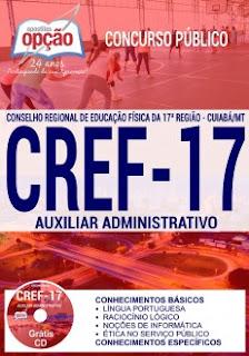 Apostila CREF17 Região MT 2017 para cargo auxiliar administrativo.