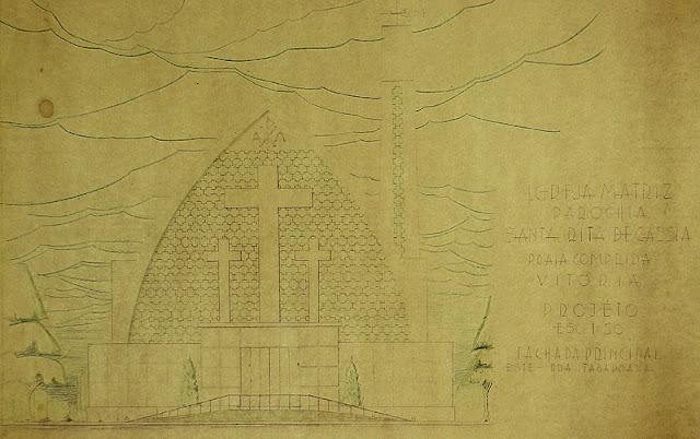 ID 436 - Projeto da Igreja Matriz, Paróquia Santa Rita de Cássia à rua Itabapoana [atual rua Fortunato Ramos], Praia do Canto, Vitória, 1961.
