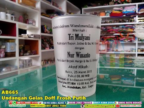 undangan gelas doff frosh putih harga murah