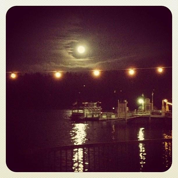full moon at night, clouds, lake