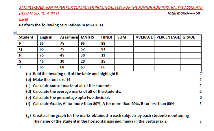 EXCEL PRACTICAL TEST PAPER FREE DOWNLOAD