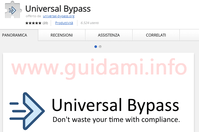 Universal Bypass sul Chrome Web Store