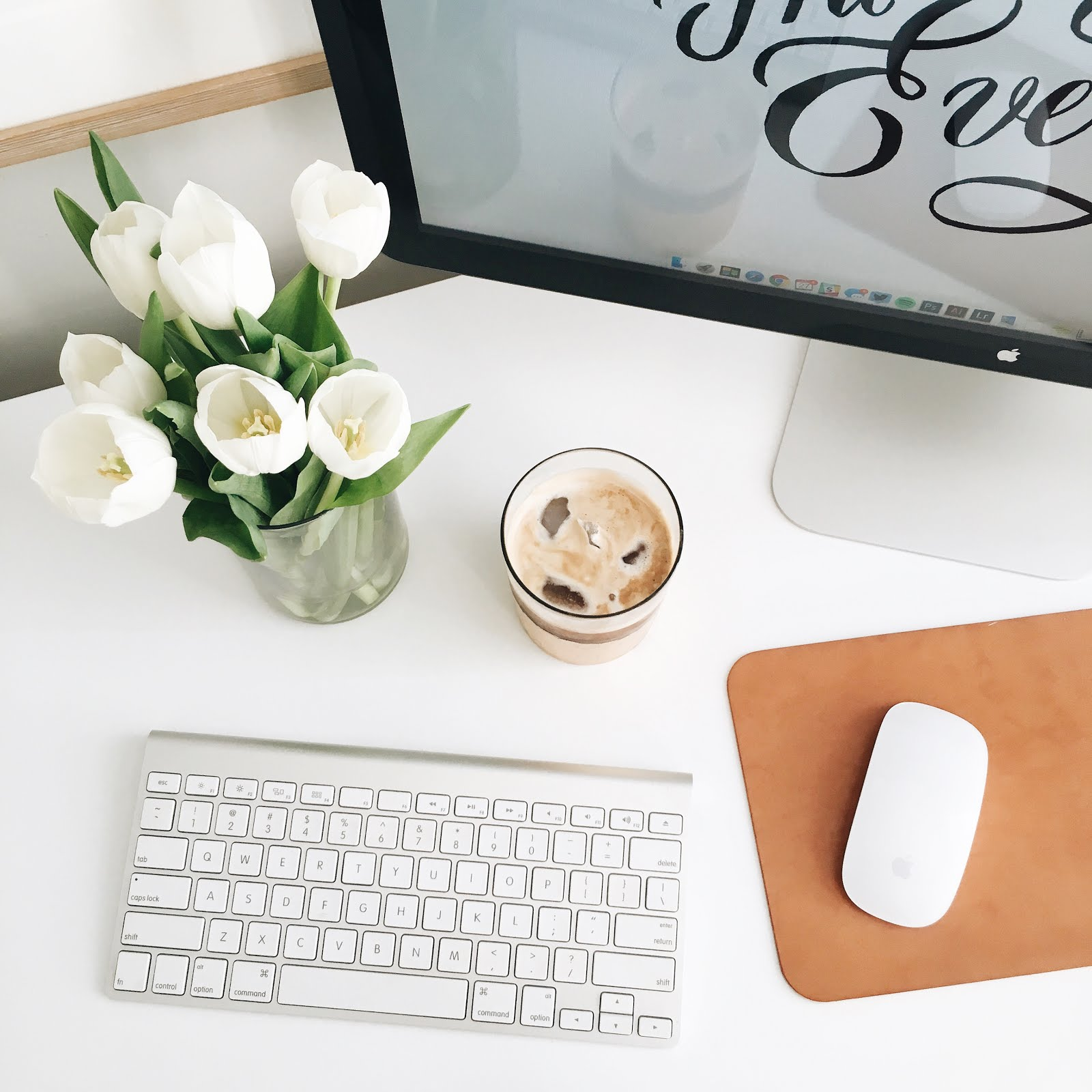 danielle moss office, desk, neutrals, white desk, iced coffee, ravacholle belgium based lifestyle blog