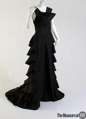 Vintage 1970s Black Teared Maxi-Dress with Pussy Cat Bow and Gold A Retrospective with Gail Carriger