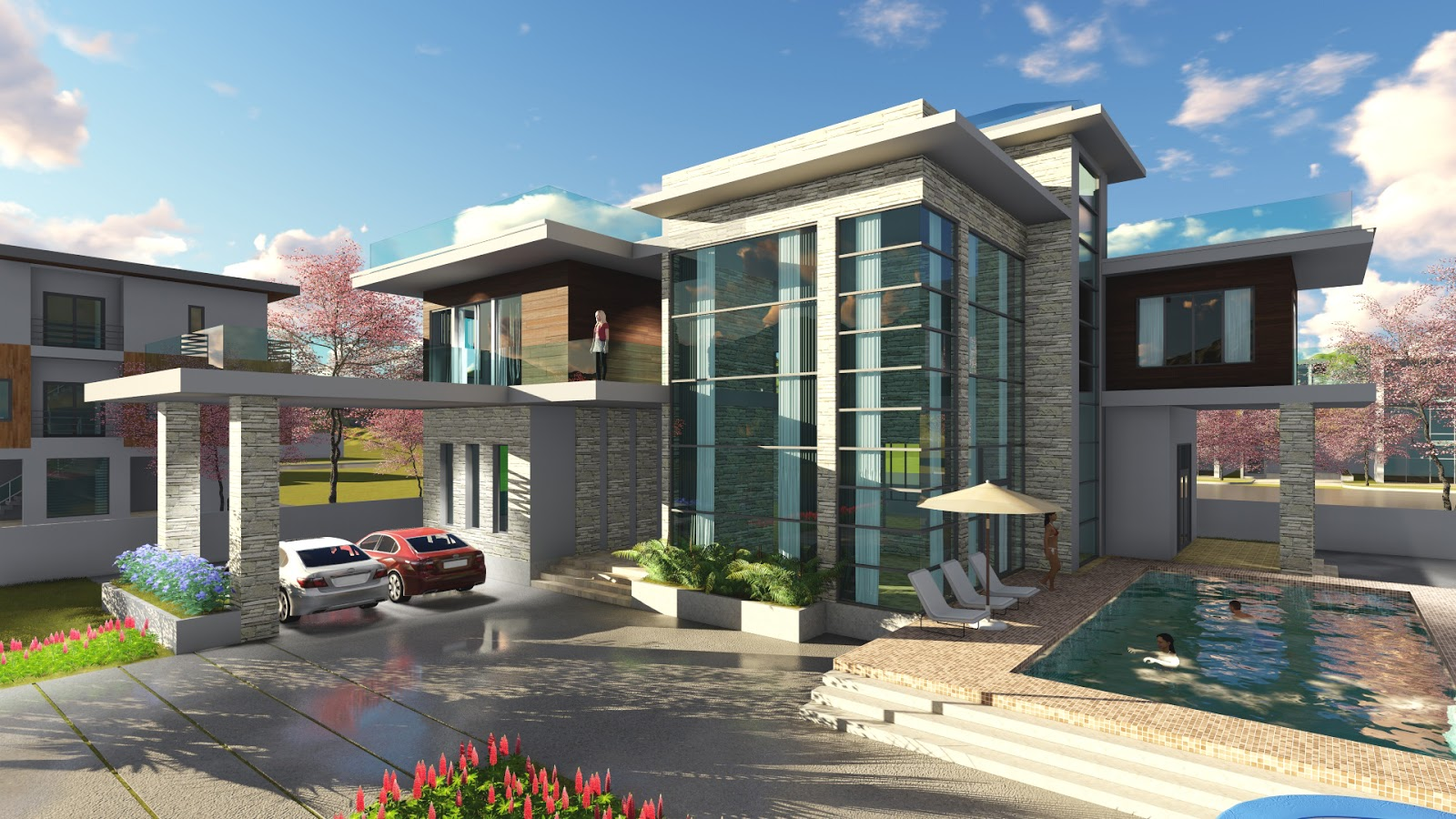 Sketchup drawing 4 bedroom exclusive modern villa design size sam architect - Modern vila design ...