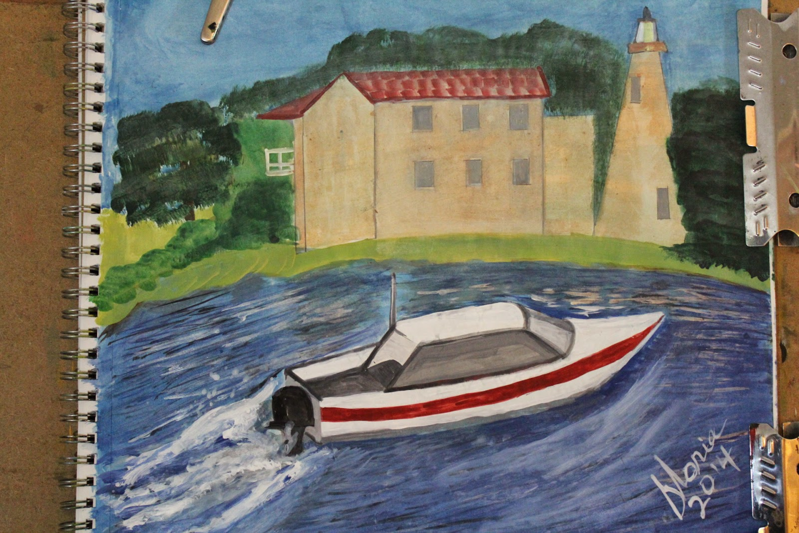 Boating by the Lighthouse sketch by Gloria Poole /gloriapoole of Missouri-1-May-2014