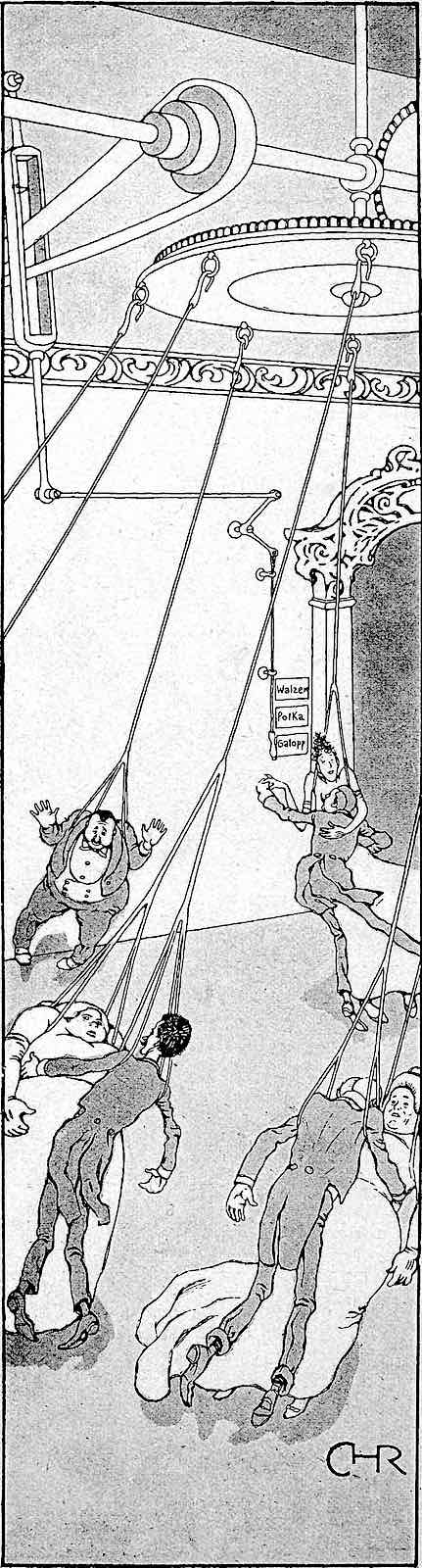 a 1902 German cartoon illustration of tired dancers on cables