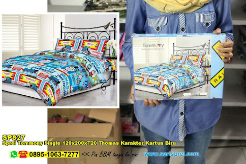 Sprei Tommony Single 120x200xT20 Thomas Karakter Kartun Biru