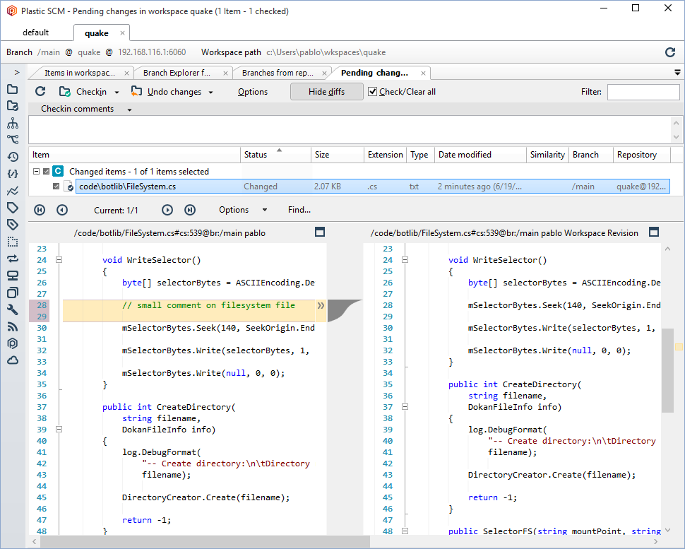 Plastic SCM blog: Improved text editor for diffs
