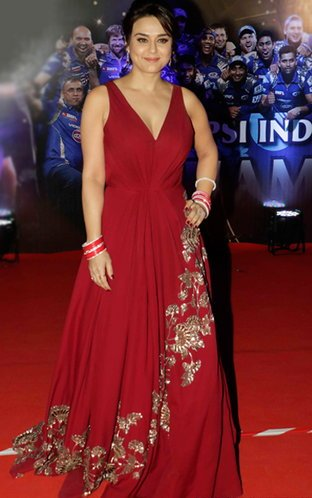 Preity Zinta Slays the Punjabi Bride Look with Red Gown at IPL 2016