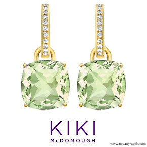 The Duchess accessorised with her Kiki McDonough cushion cut green amethyst and diamond earrings