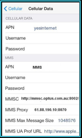 New Optus apn settings iPhone
