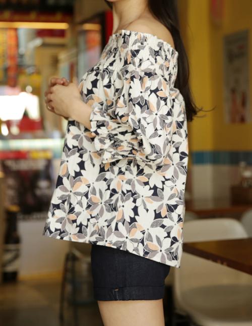 Shirred Off-Shoulder Blouse
