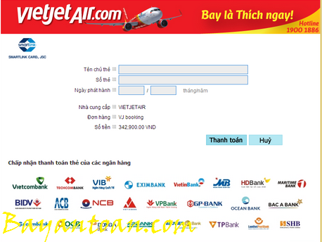 Hướng dẫn thanh toán vé máy bay Vietjet