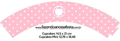 Wrappers para cupcakes de Corona Rosada  para imprimir gratis.