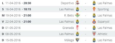 Calendario de los próximos partidos de UD Las Palmas