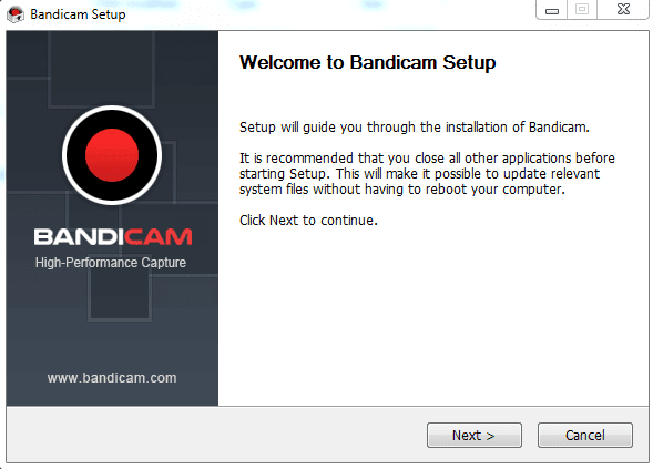 Bandicam Screen Recorder Installation Process