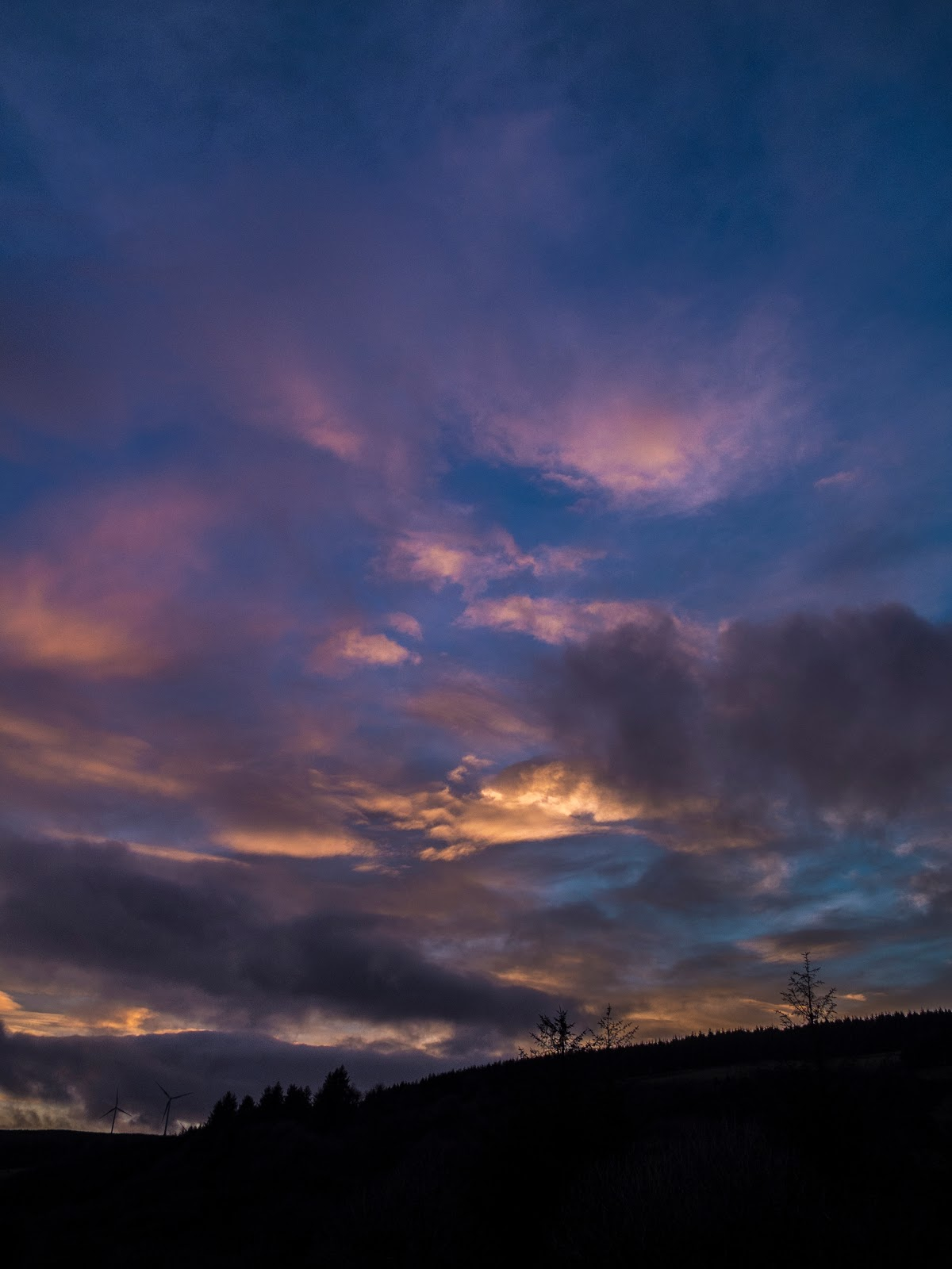 Mountain landscape of clouds at sunset in North Cork, Ireland.