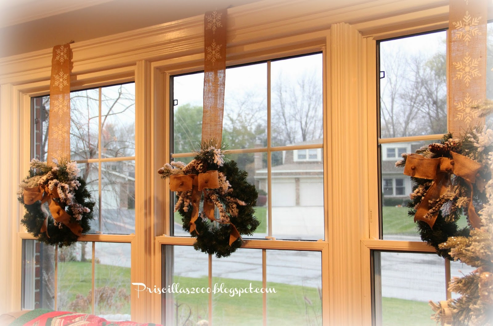 Priscillas: Flocked Wreaths in The Living Room