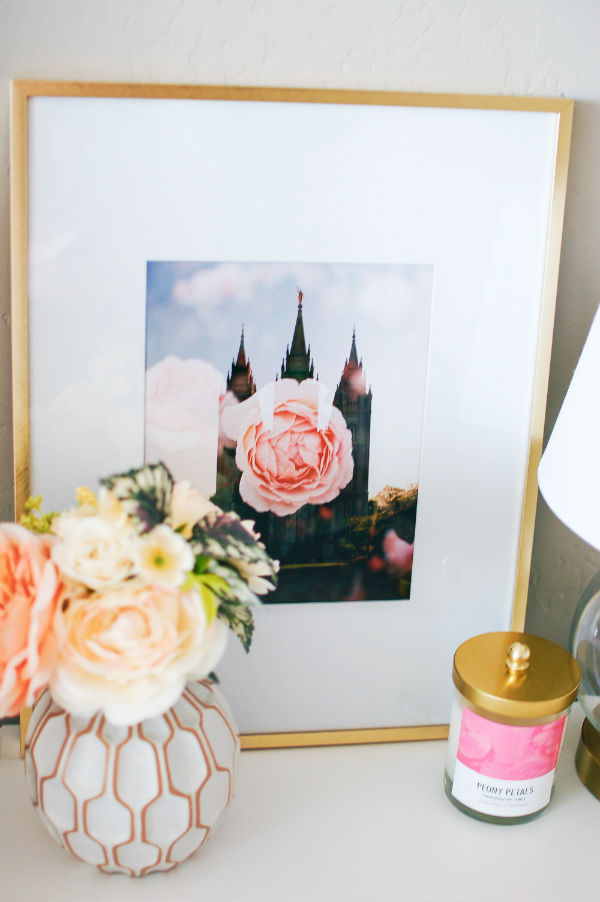 White and gold themed nightstand decor