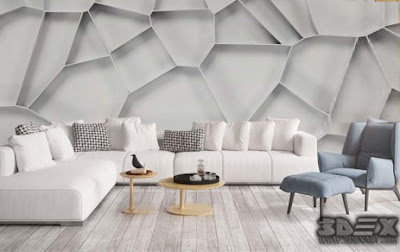 modern 3D wallpaper for walls of living room interior 2019