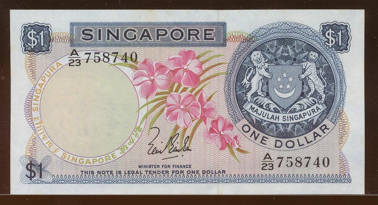 Singapore Dollar banknote Orchid series currency notes
