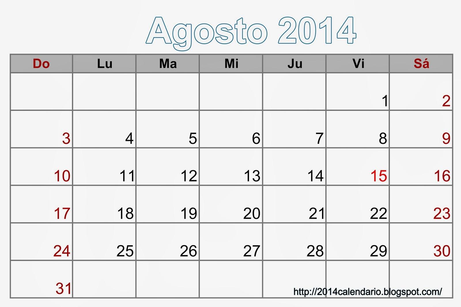 Calendario Agosto 2014 en Excel, Calendario 2014 para ...