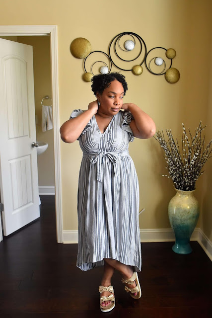 a.n.a Short Sleeve Striped Midi Dress from JCPenney