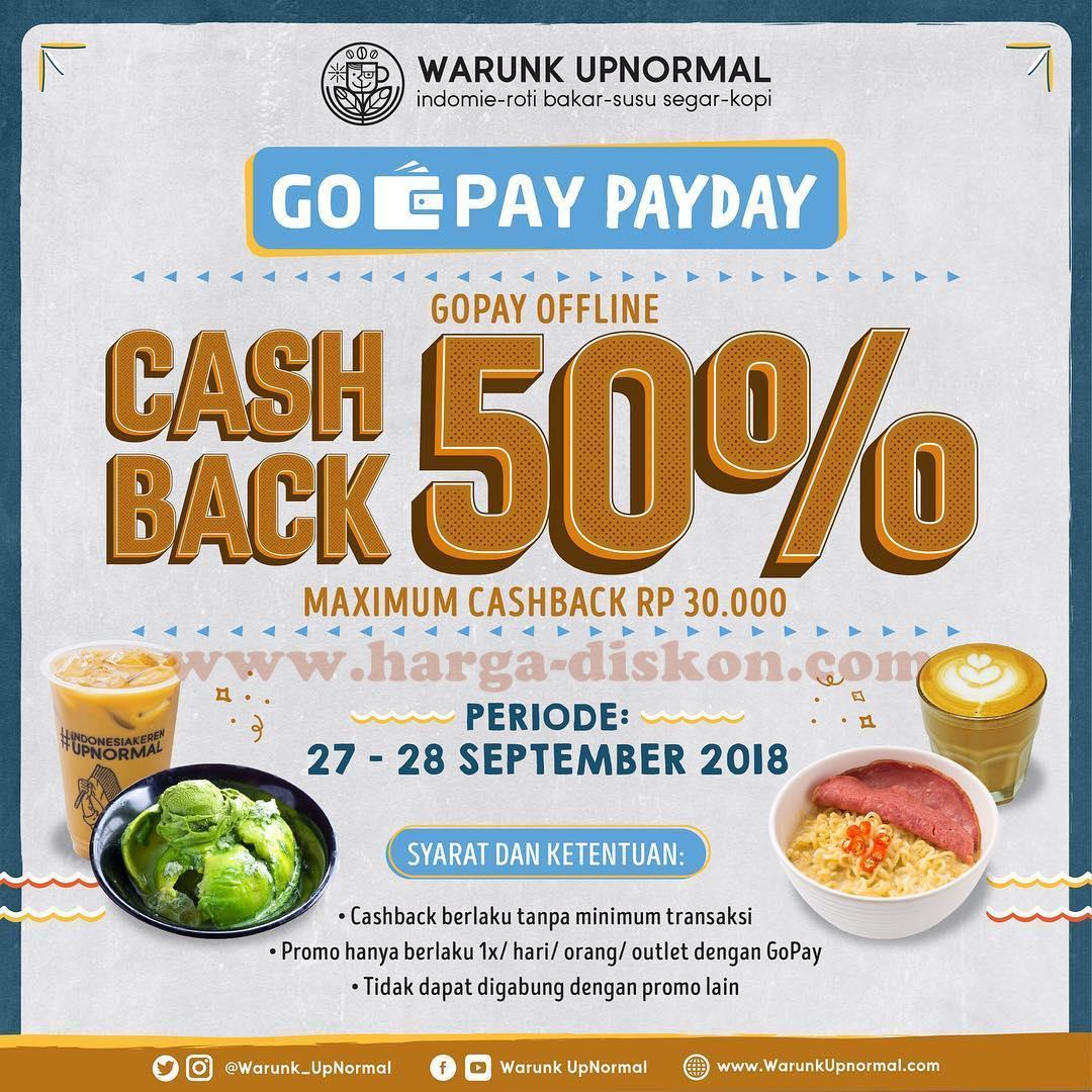 Promo Warunk Upnormal Cashback 50 Dengan Gopay Periode 27 28 September 2018 Harga Diskon