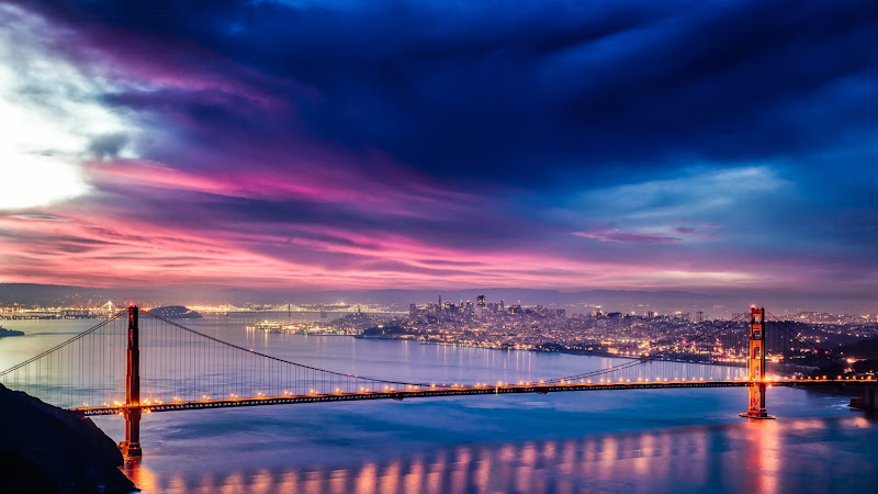 Skyfire over San Francisco Bay Bridge HD