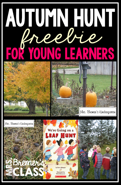 FREE Fall Themed Outdoor Scavenger Hunt- take learning outside! Perfect for teaching about fall in Kindergarten.