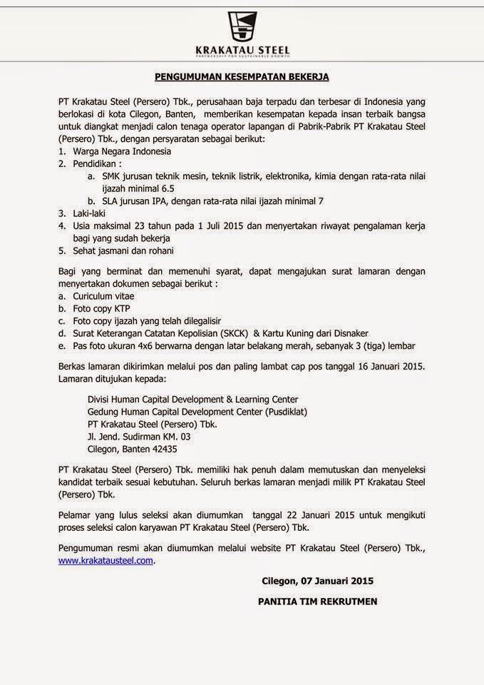 Loker Teknik Mesin Loker Lowongan Kerja Terbaru September 2016 Saat Ini Pt Krakatau Steel Membuka Kesempatan Kepada Insan Terbaik