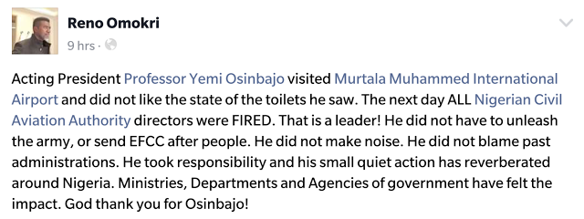 Reno Omokri gushes over Osinbajo