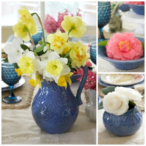 Country Garden Floral Arrangements- Bunny Brunch Table- Set a spring table with flowers and bunnies.  www.gildedbloom.com #tablessetting