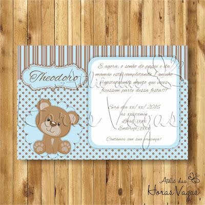 convite digital aniversário infantil personalizado ursinho urso poá bolinhas marrom e azul bebê 1 aninho menino
