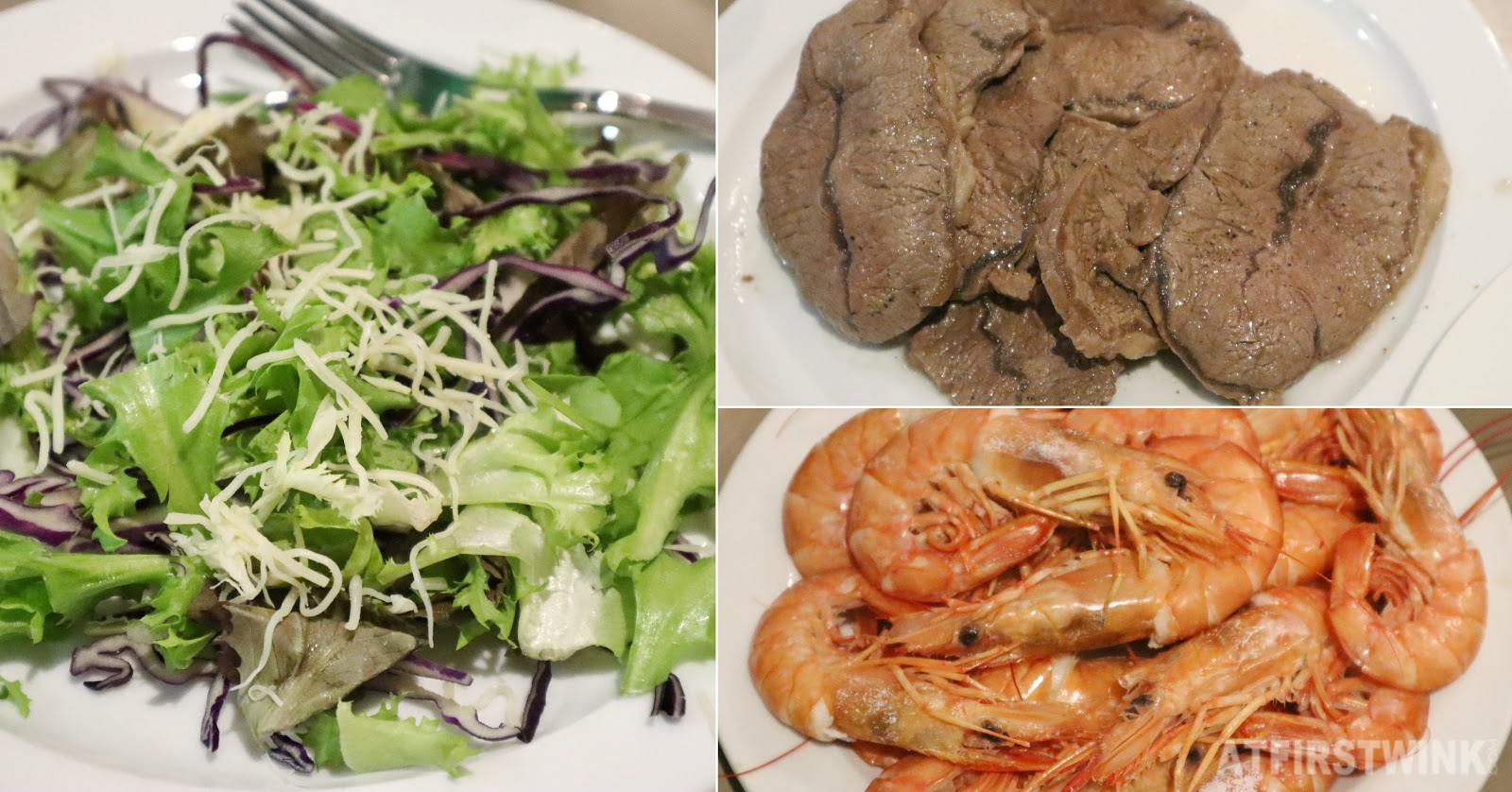 Barcelona shrimp beef salad cheese homemade dinner
