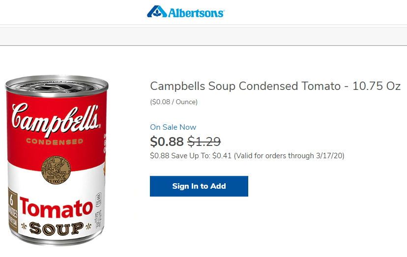 Albertson's: Sale Price of Campbell's Condensed Tomato Soup on 11 March 2020