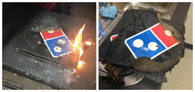 Dominos Pizza Box on Fire in Oven